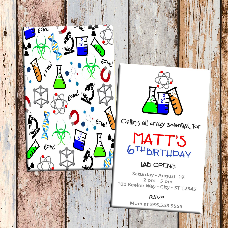 crazy scientist personalized birthday invitation 2 sided birthday card party invitation science party