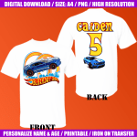 Hot Wheels Any Name Bithday Boy Instant Download Custom Matching Birthday Shirts Iron On Transfer Printable Use As A Clipart Sold By Dnlodfest On Storenvy
