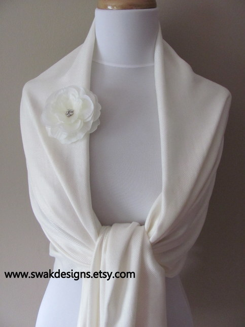 Ivory Pashmina Scarf Wedding Shawl or Choose Your color on Storenvy