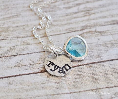 Personalized Hand Stamped Pewter Necklace with Aquamarine Pendant
