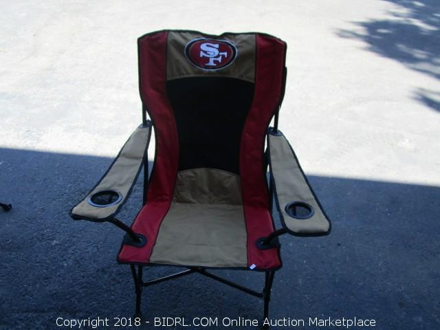 49ers camping chair used pedicure for sale bidrl com online auction marketplace elk grove furniture lawn