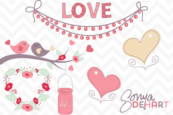 clip art romantic love birds hearts