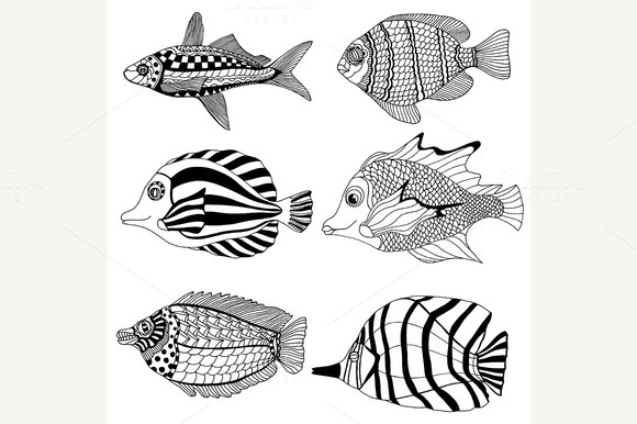 Tattoo Of Sea Fan With Trigger Fish » Designtube