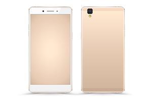 Gold Smartphone Mockup Vector