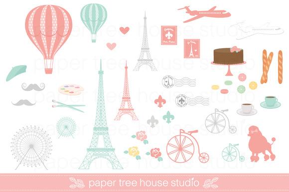 Paris travel clip art set illustrations on creative market
