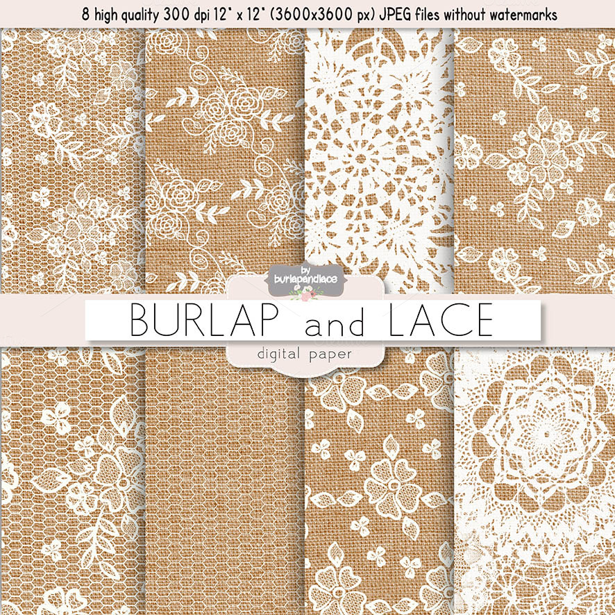Burlap and Lace digital paper  Patterns on Creative Market
