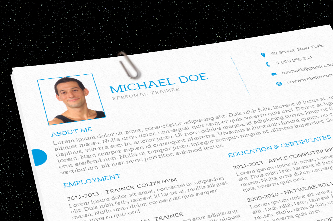 Indesign Resume Tutorial Personal Trainer Resume Resume Templates On Creative Market