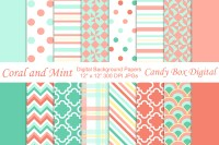 Trendy Coral n Mint Backgrounds ~ Patterns on Creative Market