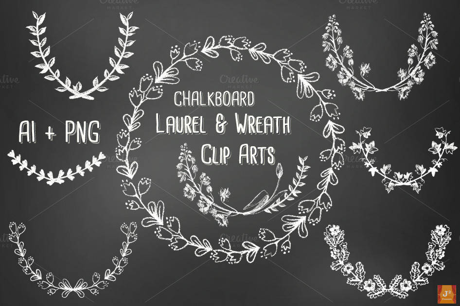 Chalkboard Laurel Wreath Vector PNG  Illustrations on