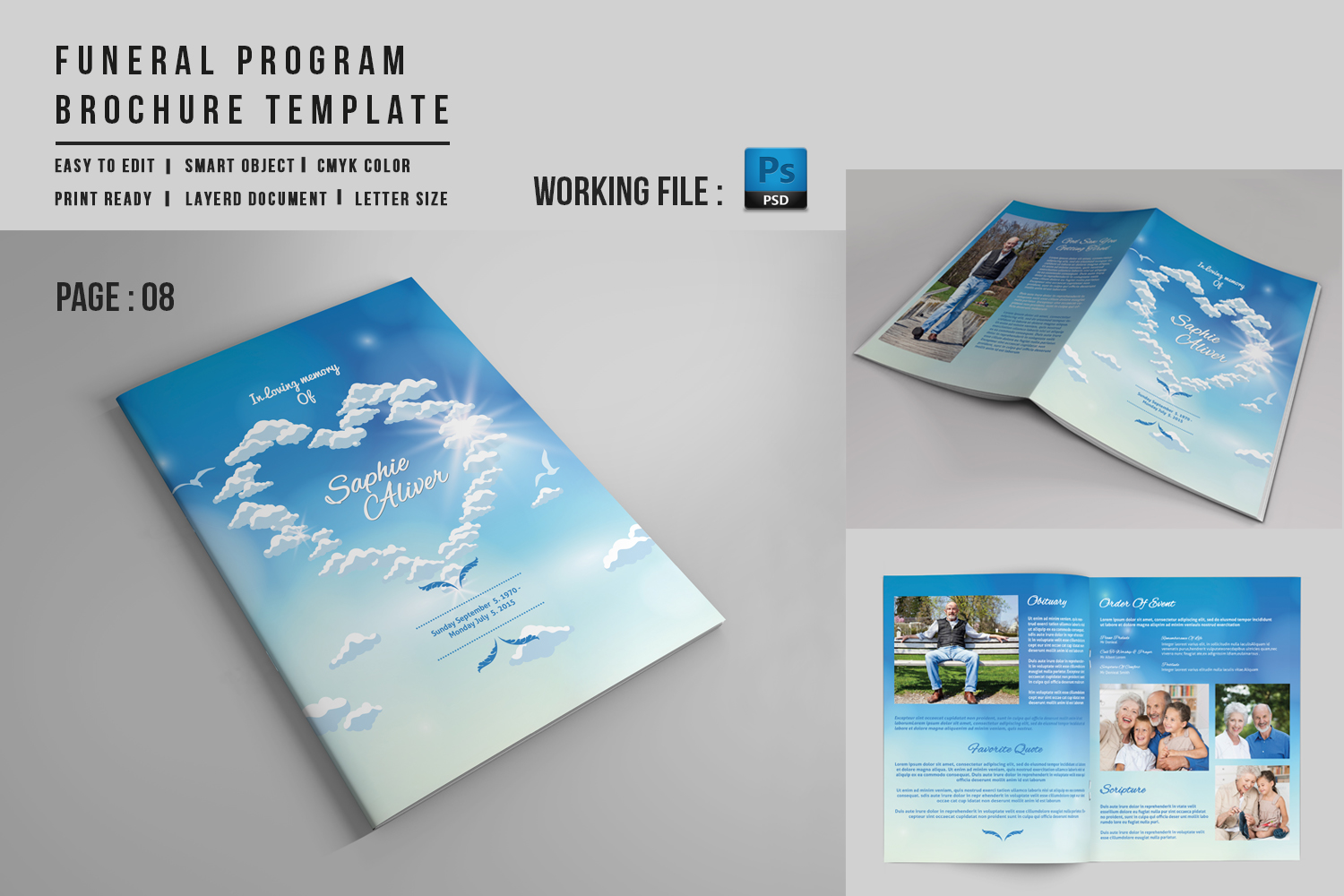 8 Page Funeral Booklet Template V527 Brochure Templates