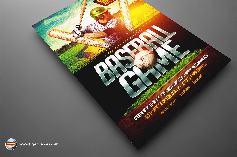 Customizable design templates for baseball sports event flyer.
