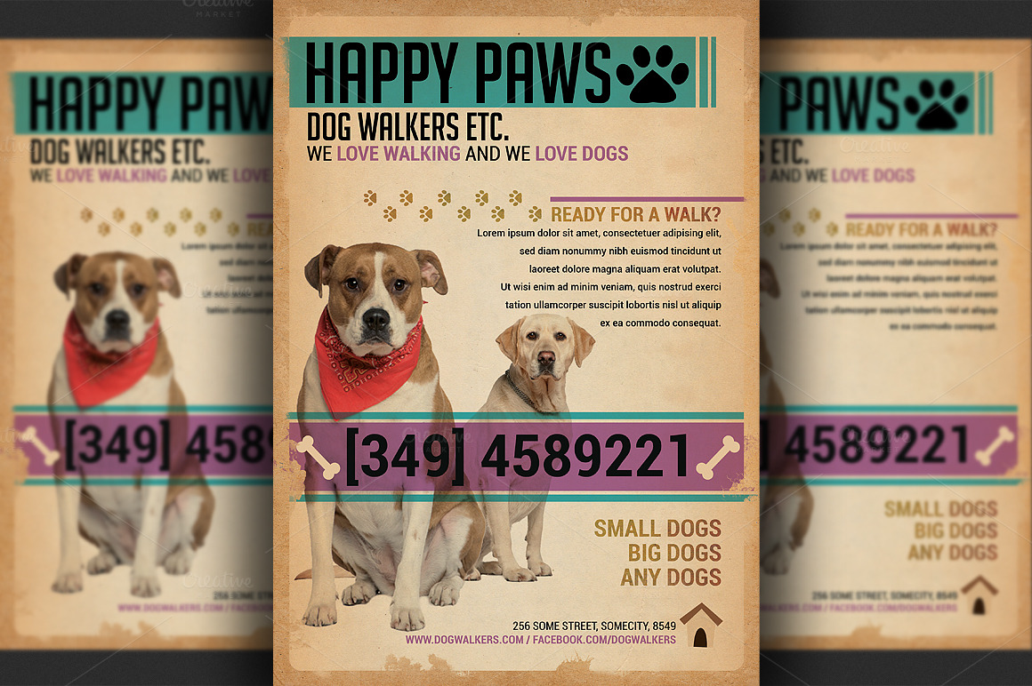 Dog Walkers Flyer Template Flyer Templates On Creative
