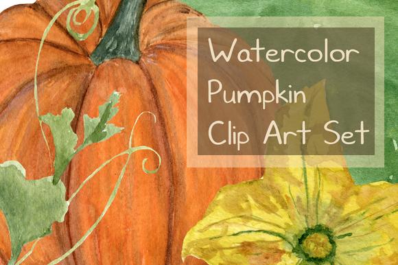stock graphic - 15 watercolor pumpkin