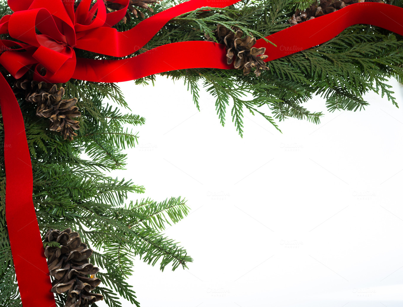 Decorative Border With Red Ribbon Holiday Photos On