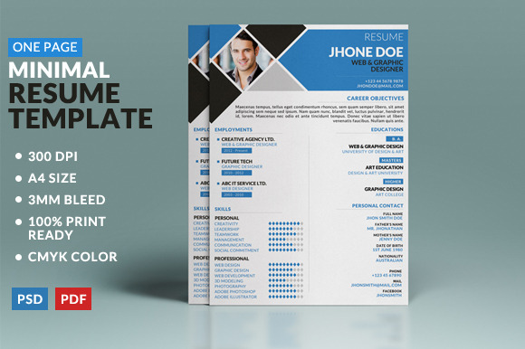 Minimal One Page Resume Template Resume Templates On