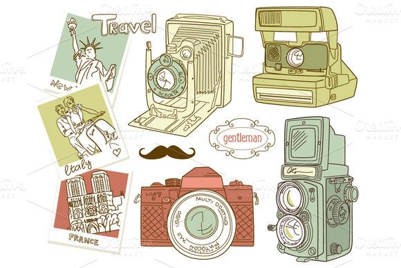 Vintage Camera digital clip art set  Illustrations on