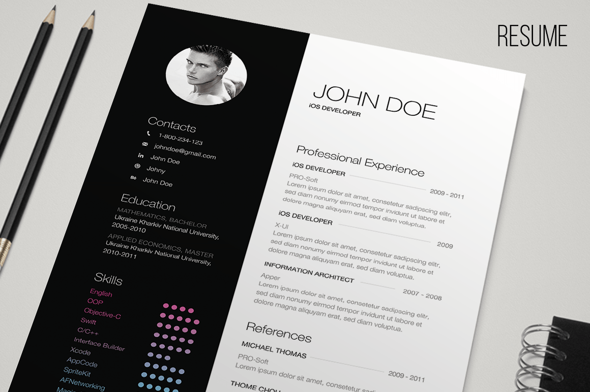 Resume Indesign B Andw Resume Resume Templates On Creative Market