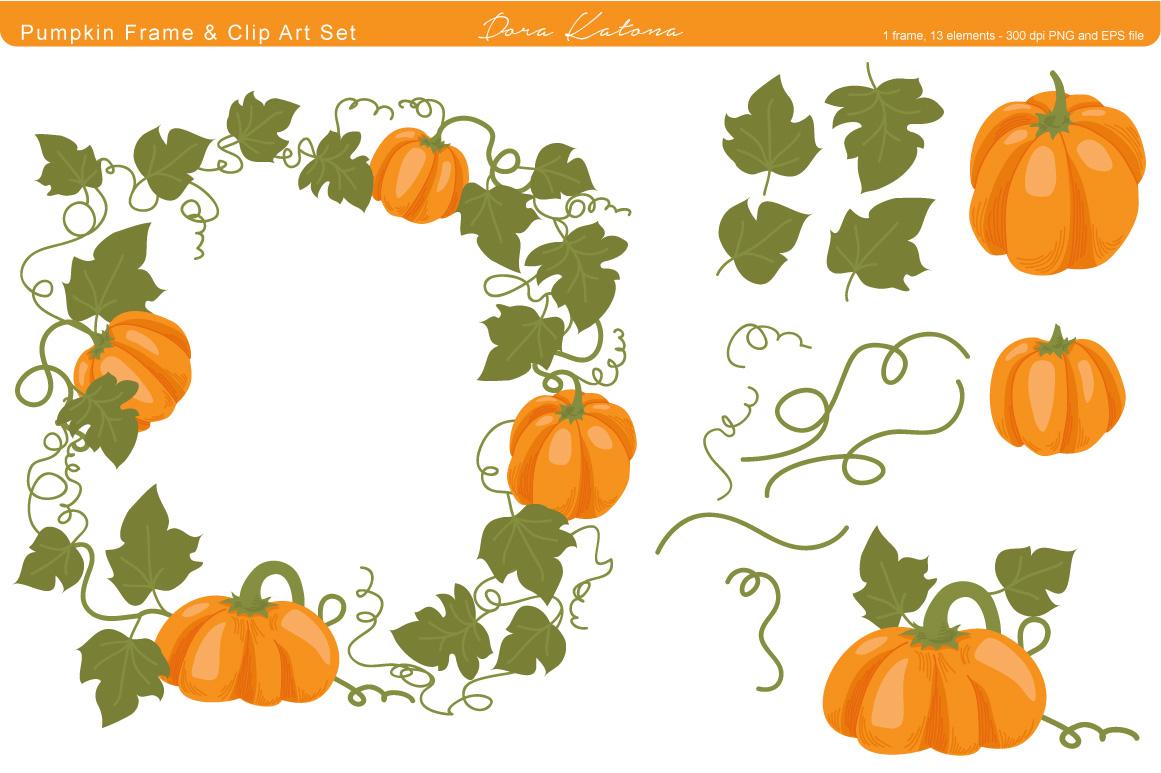 pumpkin frame and clip art illustrations