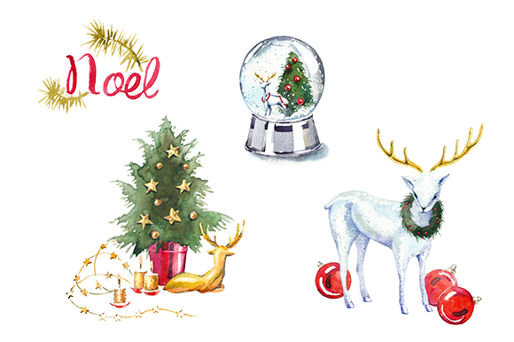 Watercolor Christmas Clipart Set Illustrations On