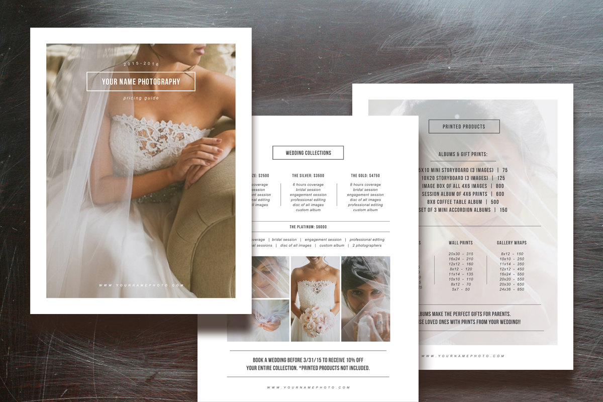 Photographer Pricing Guide Set Flyer Templates On