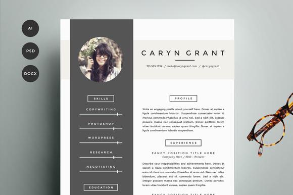 Resume Template 4 Pack  CV Template  Resume Templates on Creative Market