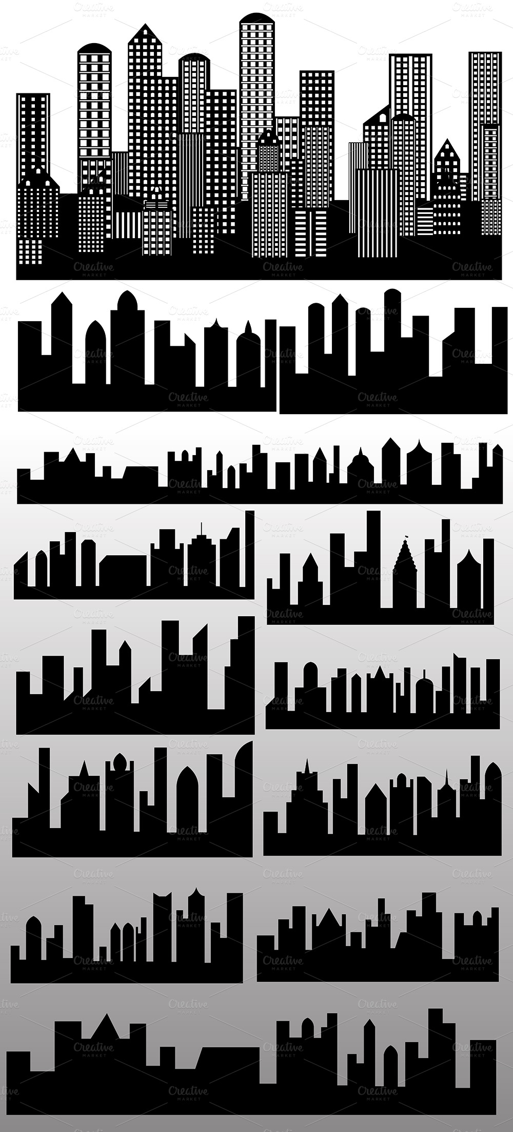 Skylines Buildings Silhouettes Vecto  Illustrations on