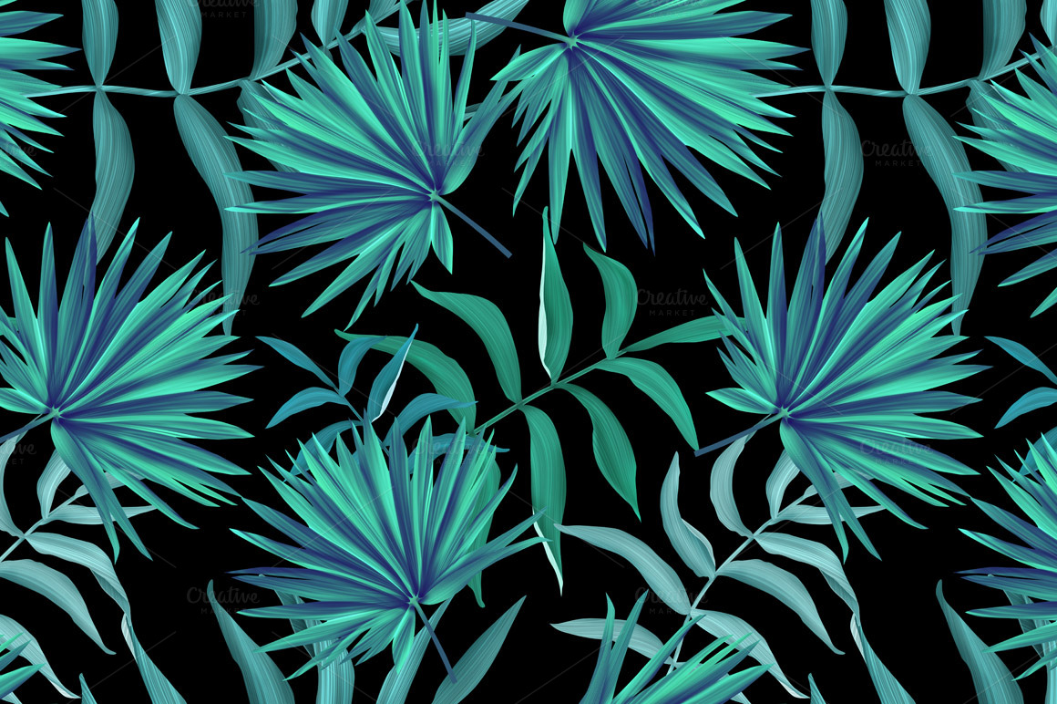 Tropical pattern Jungle palm leaves Patterns on