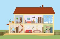 Big House Inside With Icons Set ~ Illustrations on ...