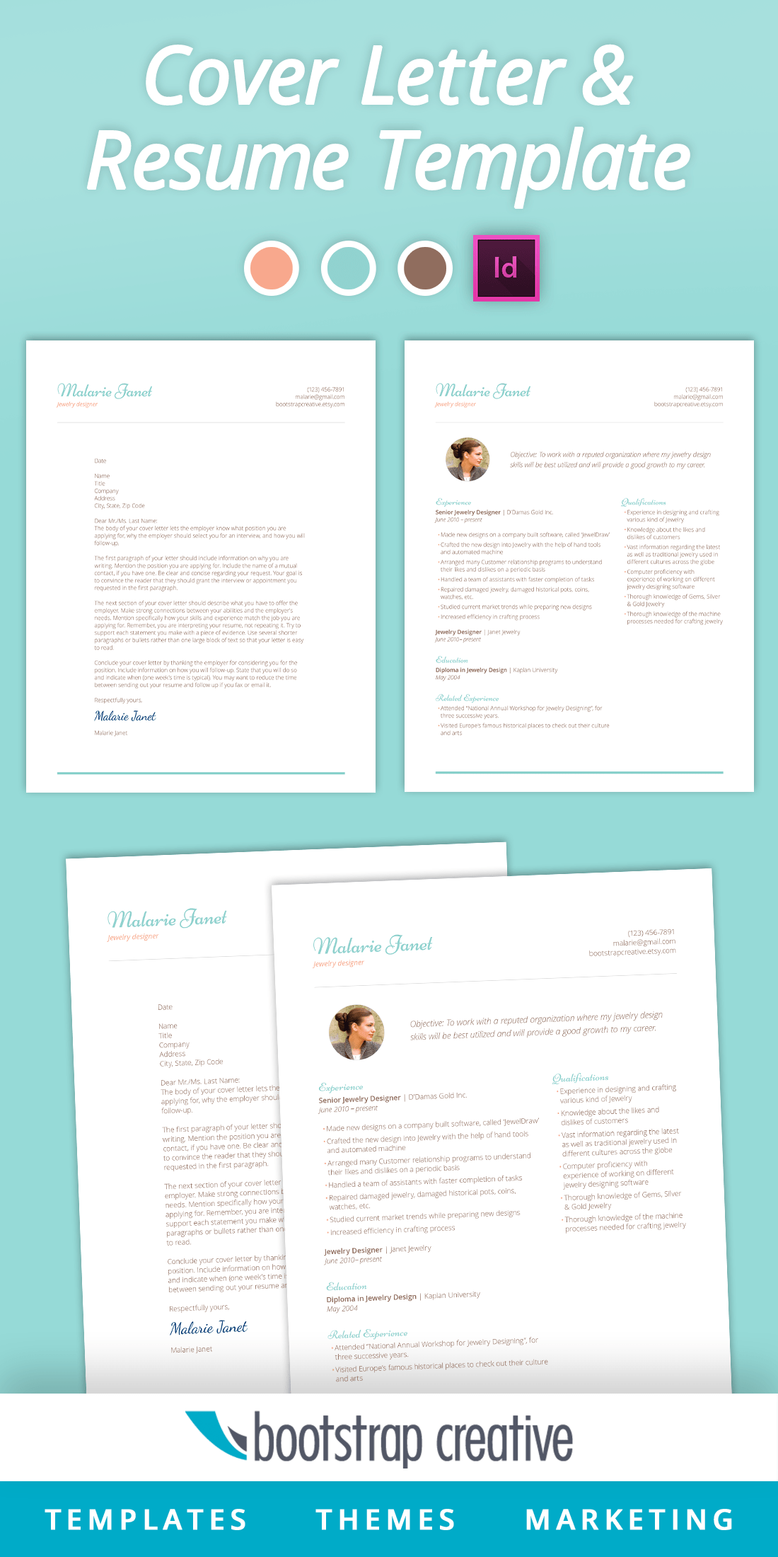 Resume Indesign Resume Template Indesign Feminine Resume Templates On