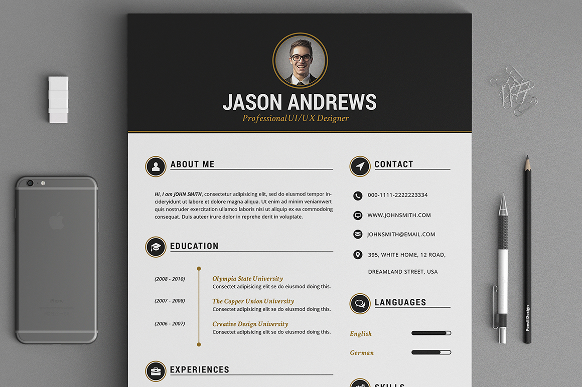 The Elegant Resume CV Set Template Resume Templates On