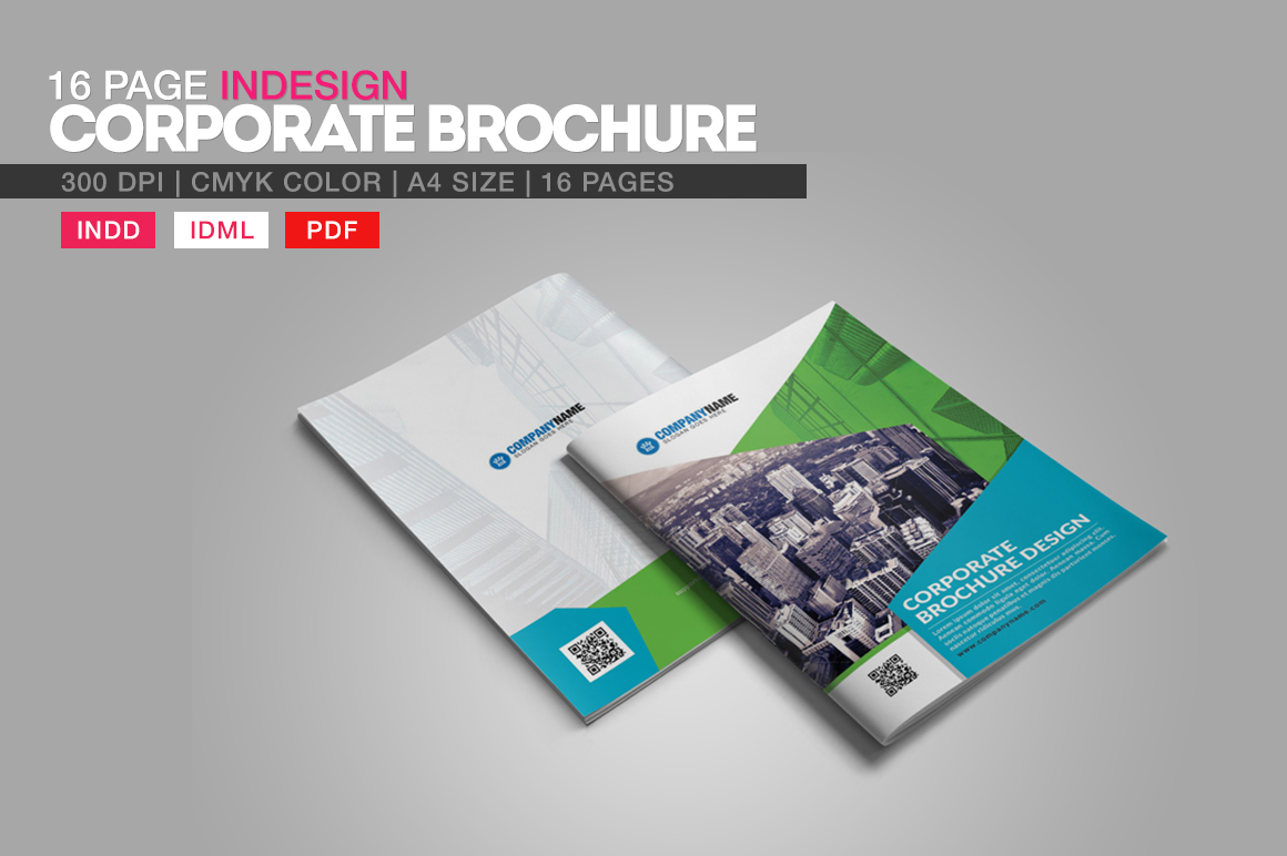 16 Page Indesign Corporate Brochure Brochure Templates