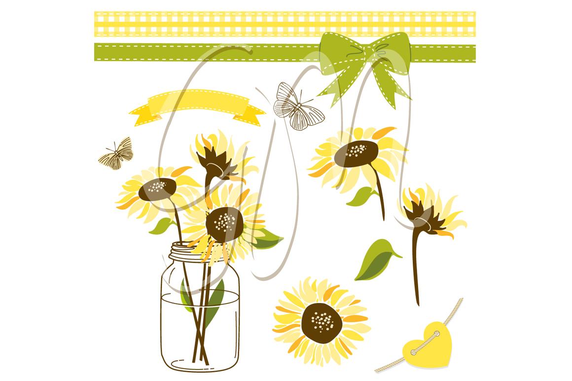 sunflowers mason jars digital papers