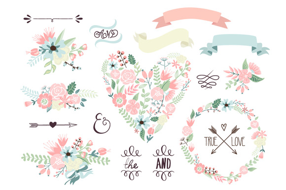 Wedding floral clipart wreath heart illustrations on creative
