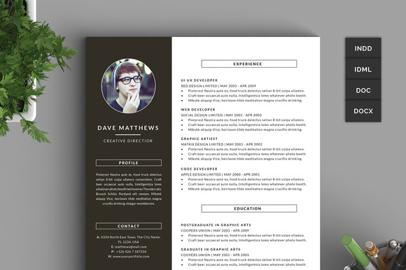 Hipster Resume CV With Cover Letter Resume Templates On