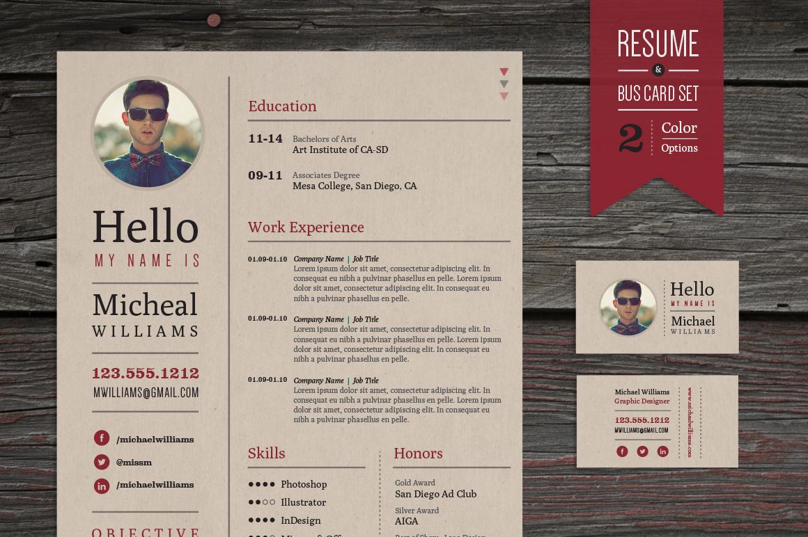 Creative Resume  Business Card Set  Resume Templates on