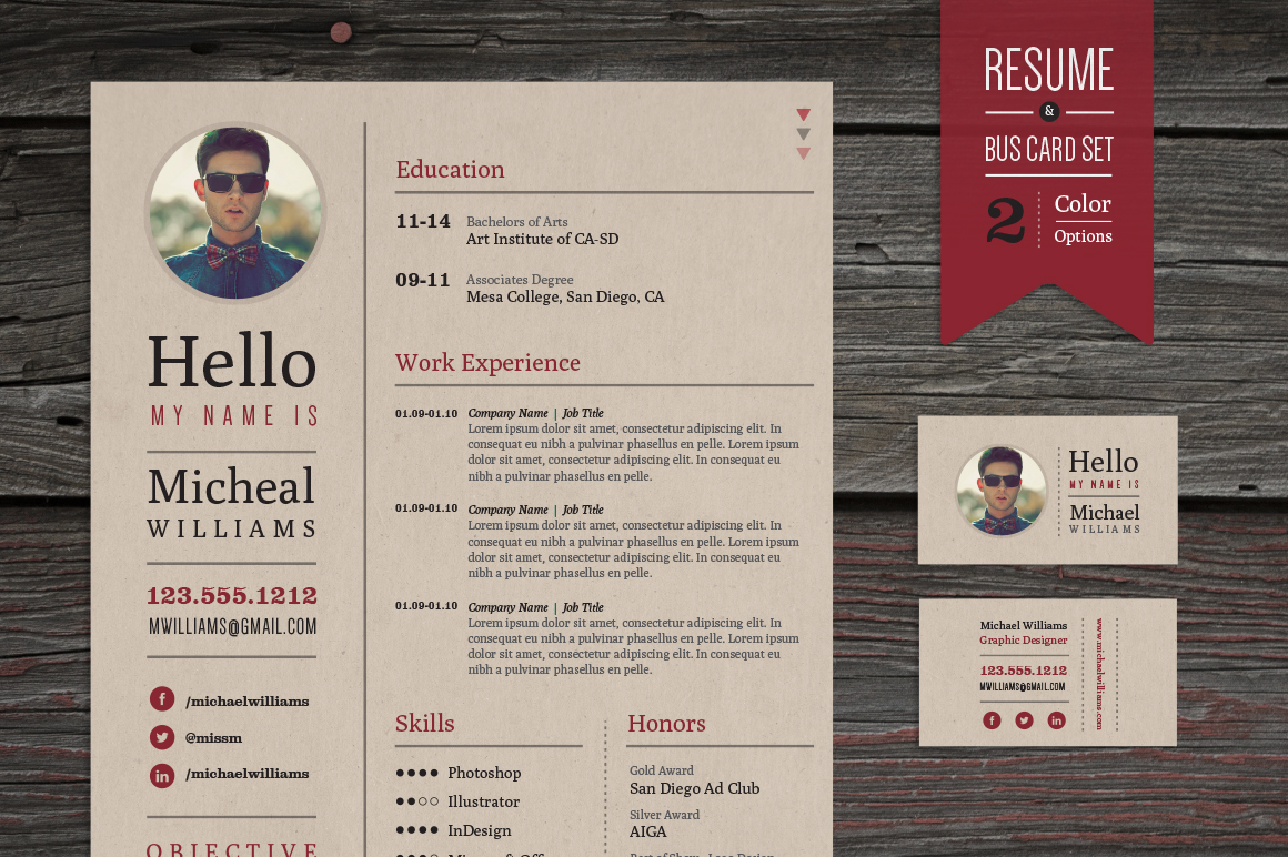 Creative Resume And Business Card Set Templates On