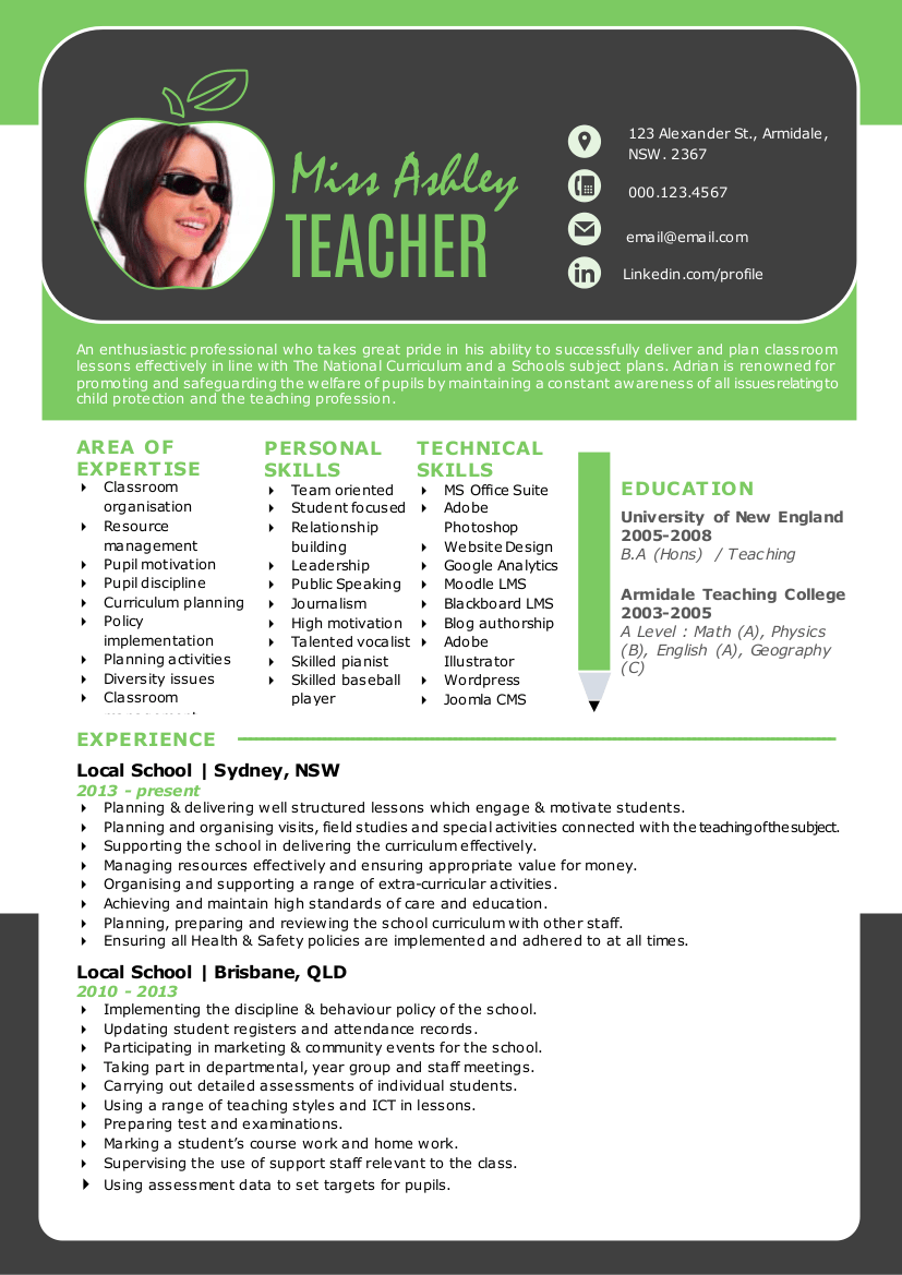3 In 1 Modern Word Teacher Resume Resume Templates On
