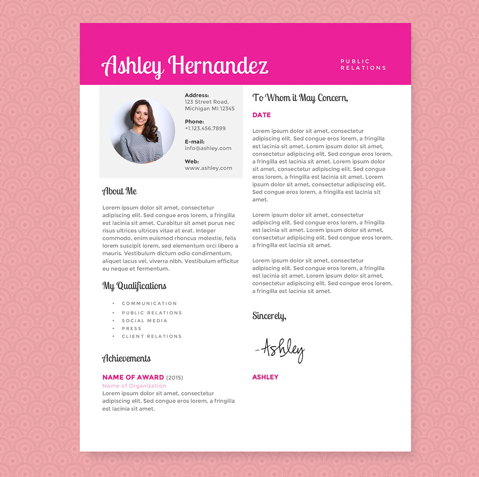 Bright Pink Resume Template Package Resume Templates On