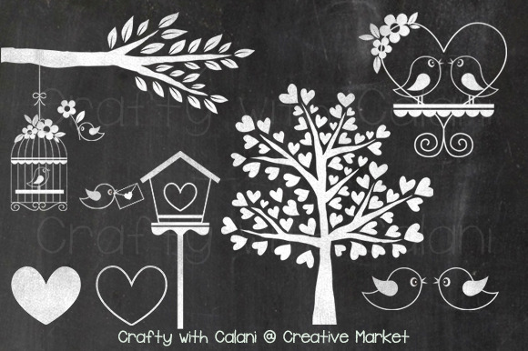 Chalkboard Love Bird & Heart Tree Illustrations On
