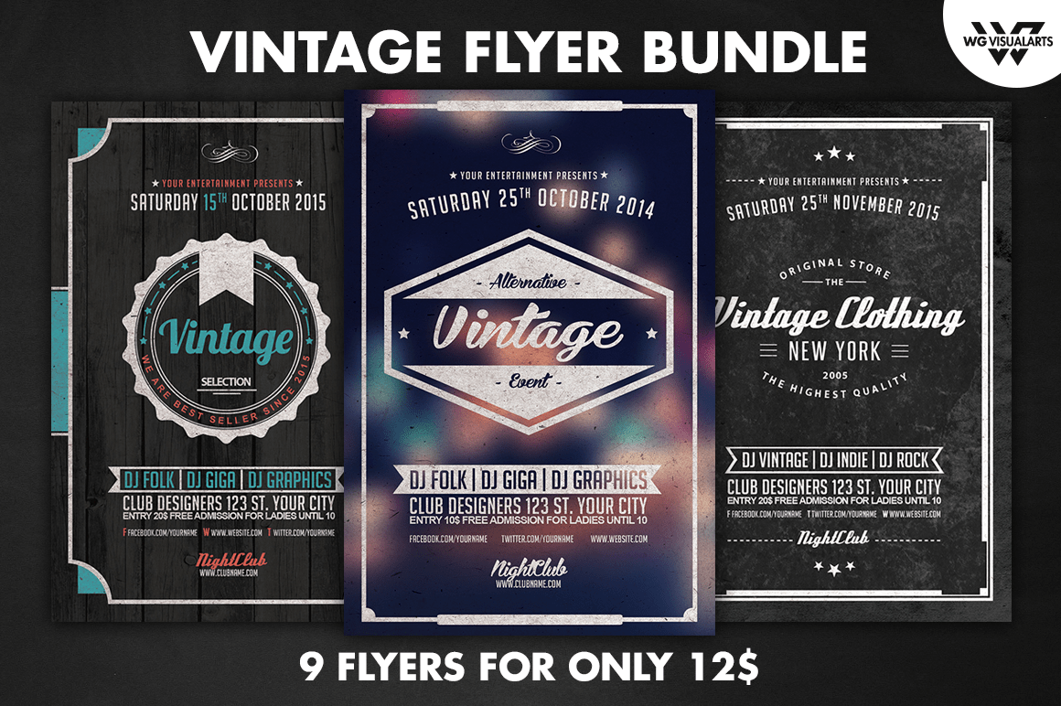 9 Vintage Flyer Bundle Vol2 Flyer Templates On Creative