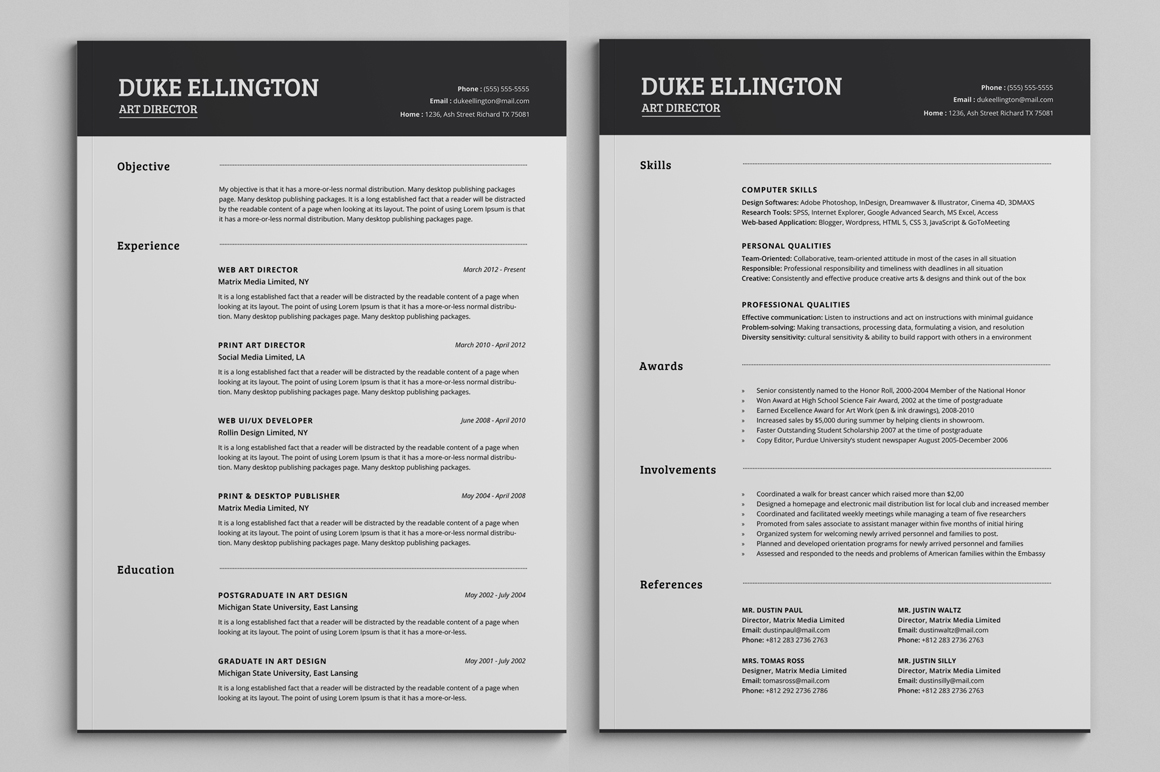 Free Pages Resume Templates Two Pages Classic Resume Cv Template Resume Templates On