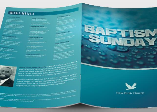 Baptism Sunday Church Bulletin Brochure Templates On
