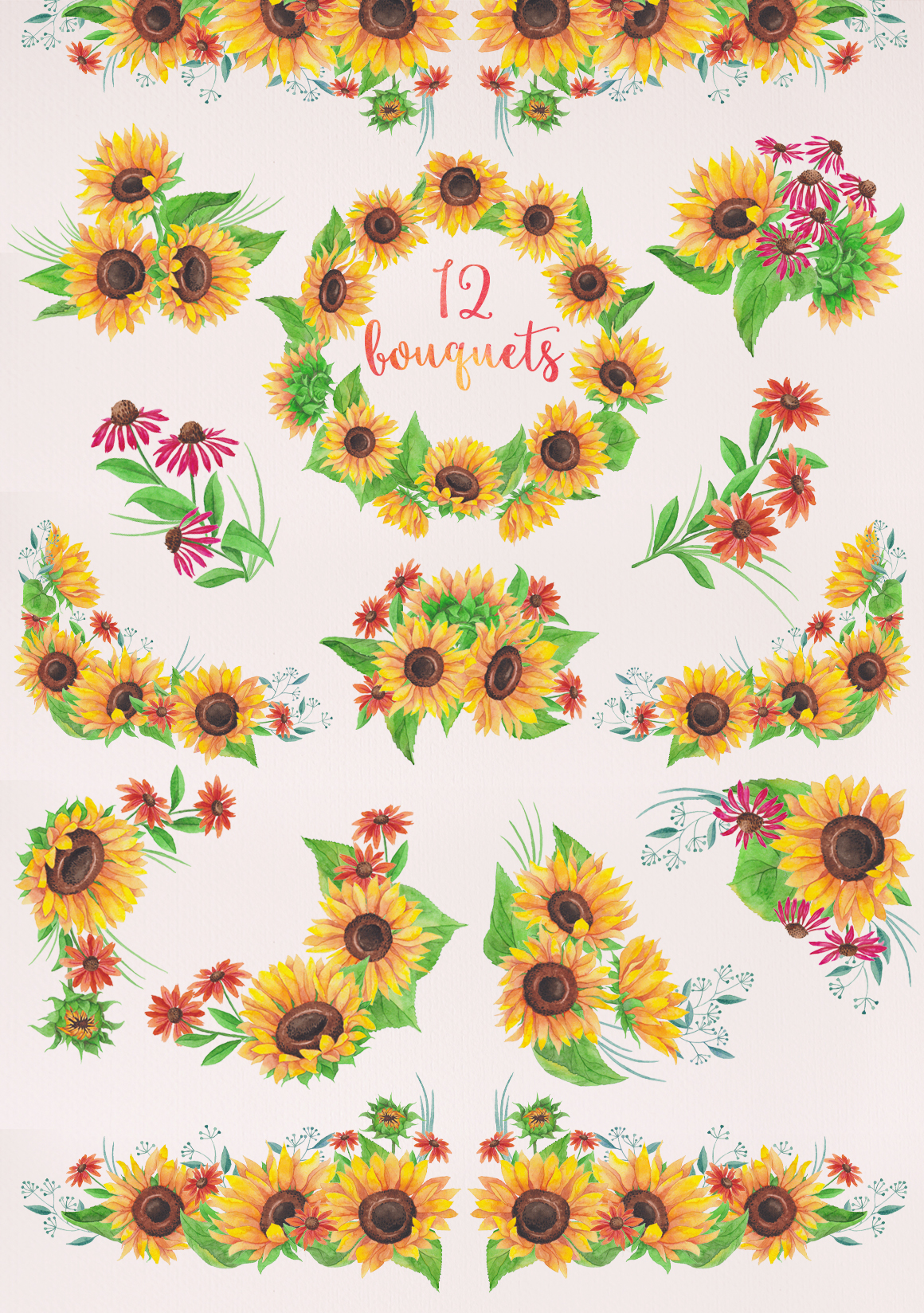 watercolor sunflowers illustrations