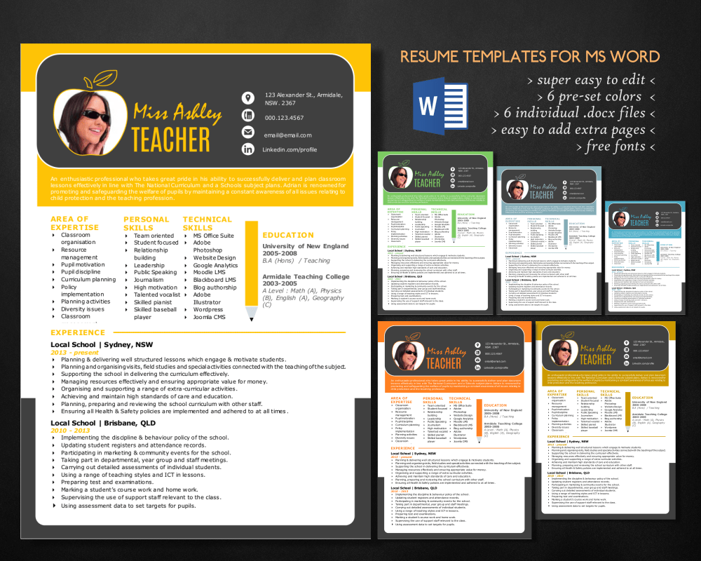 Stylish 3 in 1 teacher Word resume  Resume Templates on