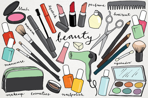 makeup & beauty hand-drawn clipart