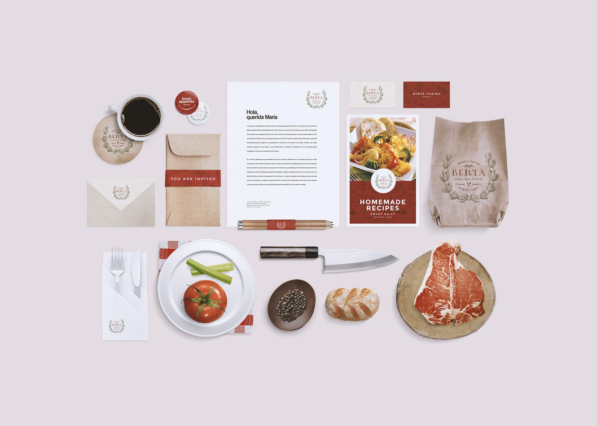 RestaurantFood Identity Mockup Product Mockups On