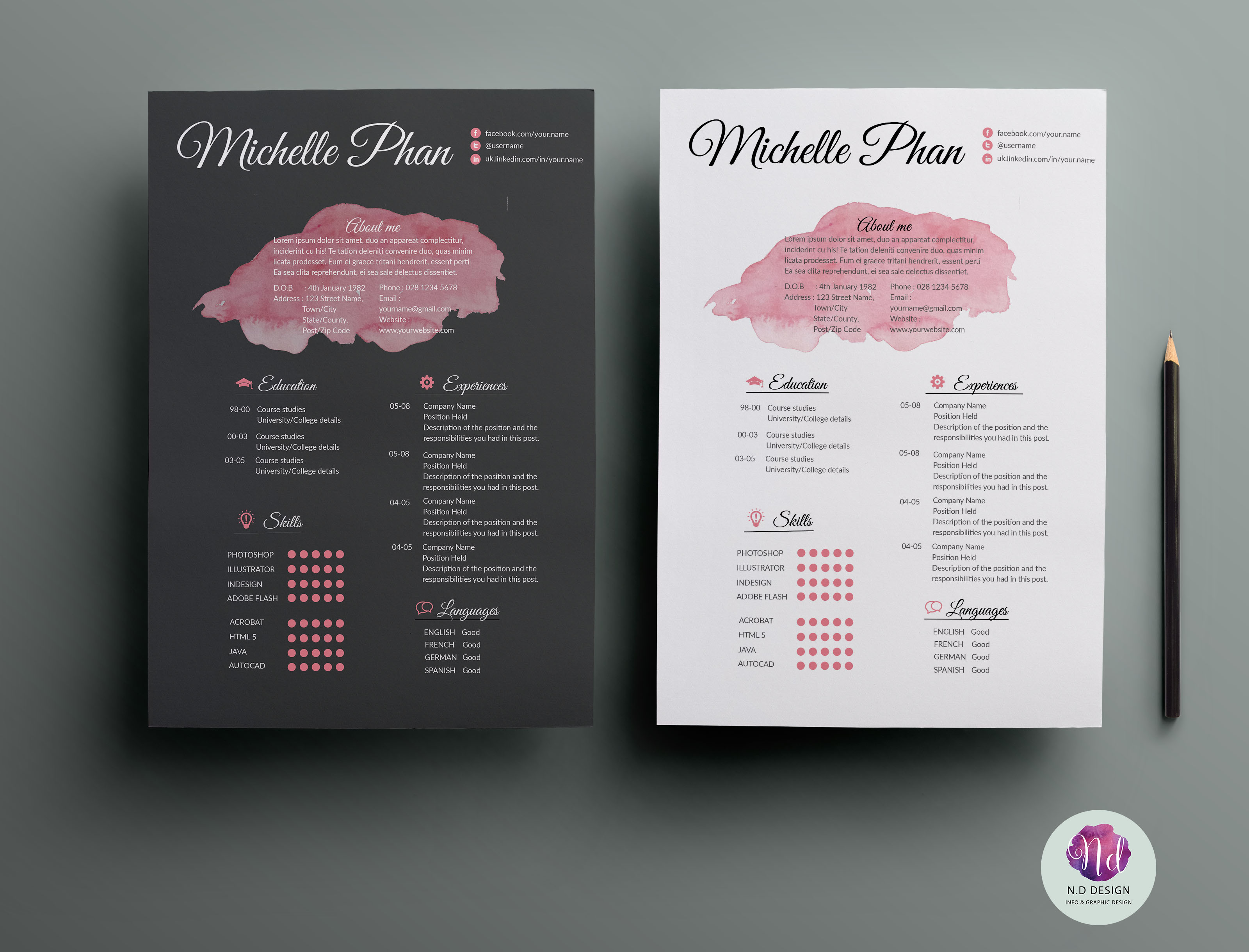 Resume Template Resume Templates On Creative Market