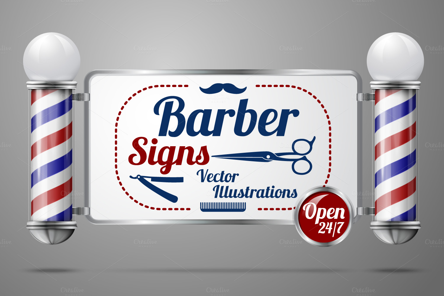 Barber Poles And Signs Vector Set Objects On Creative Market