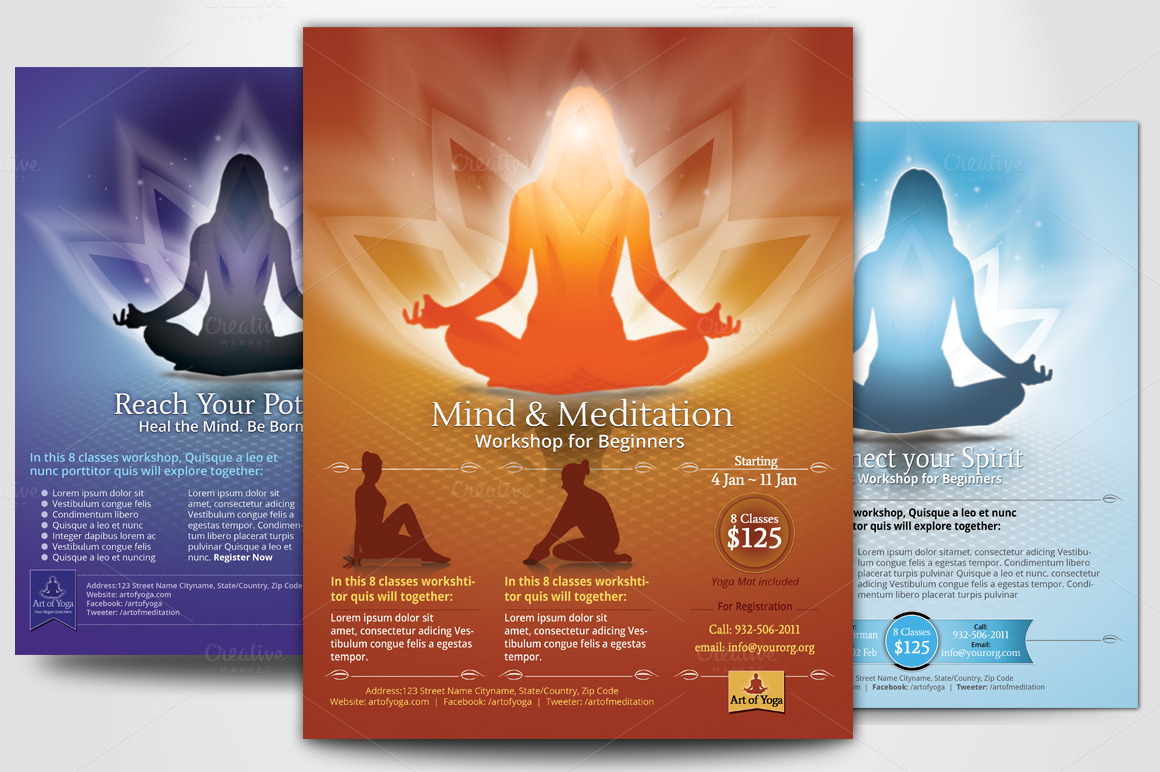 Simple Yoga Meditation Flyers Flyer Templates On