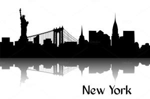 york silhouette skyline nyc outline clip ny vector state brooklyn newyork painting usa bridge building tattoo illustration
